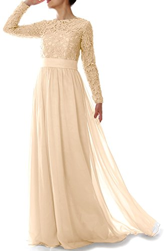 MACloth - Robe - Trapèze - Manches Longues - Femme Beige - Champagne