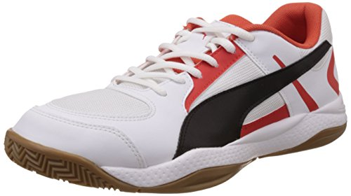 Puma Veloz Indoor II, Chaussures Multisport Indoor mixte adulte Blanc - Weiß (white-black-puma red 03)