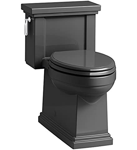 KOHLER K-3981-7 Tresham Comfort Height Skirted One-Piece Compact Elongated Toilet with Aquapiston Flush Technology and Left-Hand Trip Lever, Black
