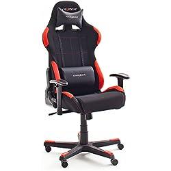 Robas Lund DX Racer 1 Gamingstuhl, Schreibtischstuhl, Bürostuhl, 78 x 124-134 x 52 cm, schwarz/rot