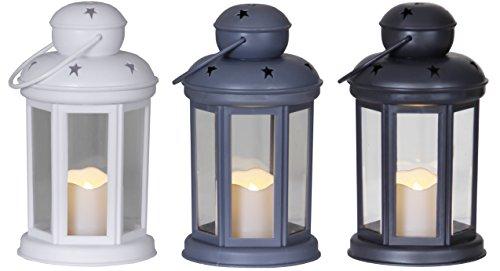 """3er Set – """"Romantic Star"""" – schwarz, weiß und grau – romantisch dekorative 18 cm hohe LED Laternen mit Aufhängungsmöglichkeit (bewegliche Öse)- aus pflegeleichtem Kunststoff – Größe : 18 cm x 10 cm – mit sanft leuchtender LED – Kerze – mit Timer Funktion – 6h/18h – ein echter HINGUCKER – Neu aus dem KAMACA-SHOP"""