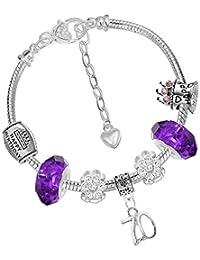 03ad2b3b4 Ladies 70th Birthday Silver Purple Charm Bracelet Gift Box and Birthday  Card Set