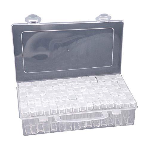 Festnight Organizer Schmuck 64 Slots Sortierbox Perlen Diamant Malerei Sortierbox Sortimentskasten Acryl-aufbewahrungsbox Klar Kunststoff Abnehmbar Fächer Sortimentskasten DIY Handwerk Werkzeug
