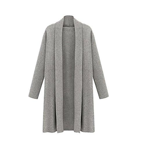 ESAILQ Damen Öffnen Sie Trenchcoat Lange Mantel Jacken Wasserfall Strickjacke(X-Large,Grau)