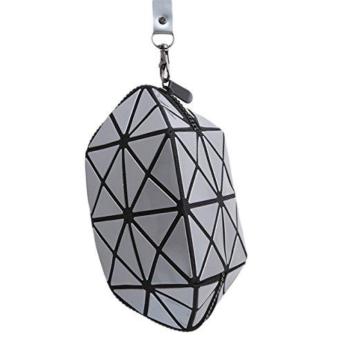 Schulter-stil Handtasche Tasche (Lalang Silber 3D Folding Stil Geometrische Diamant Kosmetiktasche für Handtasche Damen Schminktasche Make- up Tool Bag Kulturbeutel Verfassungswerkzeug Aufbewahrungstasche)