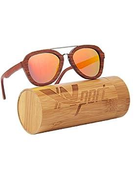 Ynport Crefreak–Gafas de sol unisex realizadas con auténtica madera de bambú, ligeras y flotantes