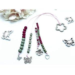 Rechenkette Mädchen, Rechenkette pink oliv, Zählkette für Mädchen, Rechenkette Name, 1. Schultag Mädchen Geschenk