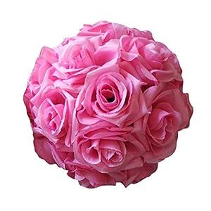 yestter Pompones De Tela para Fiestas Flor De Bola Decoraciones De Boda Artificial Flor De Rosa Bola Adecuado para Bodas
