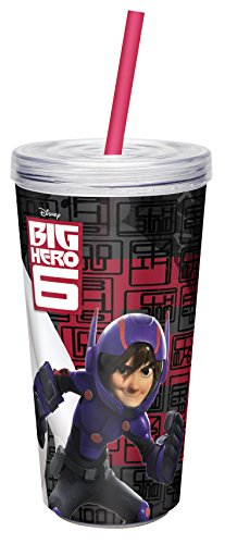 Zak! Designs Insulated Tumbler with Screw-on Lid and Straw with Big Hero 6 Graphics, Break-resistant and BPA-free Plastic, 16 oz by Zak Designs