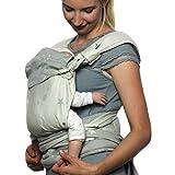 SCHMUSEWOLKE Mei-Tai Mirastar Grey BIO-Baumwolle Baby-Trage Babysize Neugeborene und Kleinkinder 0-24 Monate 3-16 kg Bauch-und Rückentrage