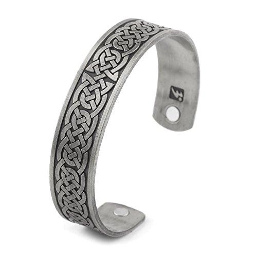 Edelstahl Wikinger Armreif Keltische Knoten 2 - Silber