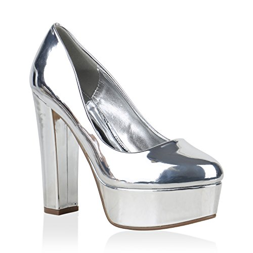 Damen Plateau Pumps Lack Metallic Schuhe Party High Heels 154444 Silber 38 Flandell