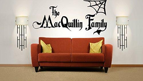loween-Familienname, Addams-Familie, Vinylwandkunst-Aufkleber. Wandbild, Aufkleber. Zuhause, Wanddekor. Wohnzimmer, Schlafzimmer, Flur, Esszimmer. ()