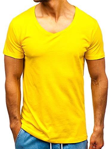 BOLF Herren T-Shirt Rundhalsausschnitt Basic Täglicher Stil 2309 Gelb M [3C3]