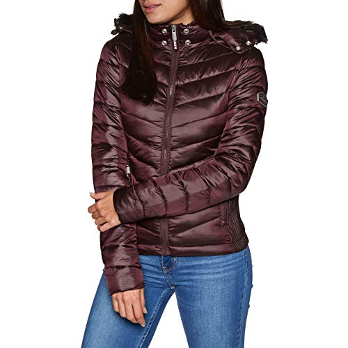Superdry Hooded Luxe Chevron Fuji Jacket XX Small Deep Ruby