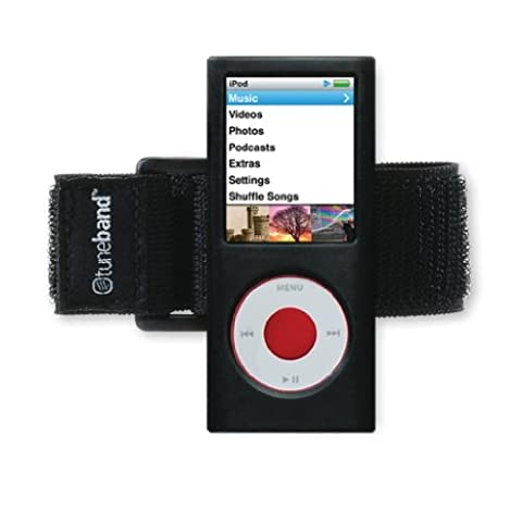 Grantwood Technology Tuneband für iPod nano 4. Generation (Modell A1285, 8GB/16GB, keine hinten Kamera), mit Armband, Silikon Haut, und der Technologie Displayschutzfolie, Schwarz, TUNEBAND-IPOD-NANO-4G-BLACK-V01