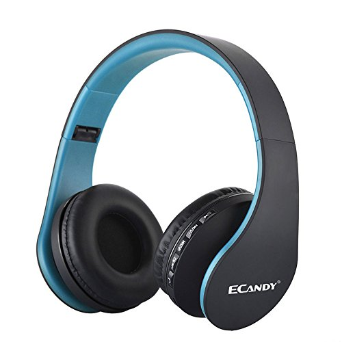 Ecandy Bluetooth Wireless Over-ear Stereo Headphones Wireless/Wired Headsets with Microphone for Music Streaming For iPhone 6s 6 5s 4s, iPad, iPod, Samsung Galaxy, Smart Phones Bluetooth Devices,Blue