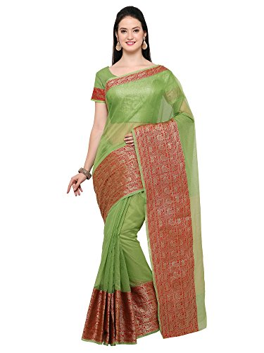 AppleCreation Women's Linen Saree With Blouse Piece (sarees new collection 2LNN211_Green)