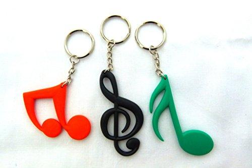 Preisvergleich Produktbild Packung mit 3 Musik Themen Schlüsselanhänger (1 jeweils Violinschlüssel, Sixteeth Hinweis und Strahl Hinweis - Zufällige Farben)