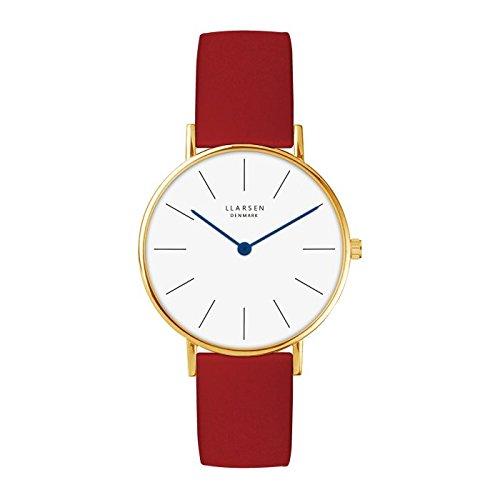 'Lars Larsen Luka Oro con Pelle Rossa 37mm Watch