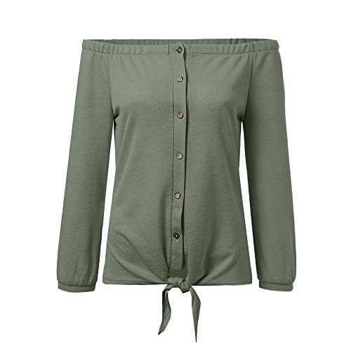 emp corsage BHYDRY Schulterfreies Trompetenärmelhemd für Damen mit Fliege, lässiges Hemdoberteil mit Knöpfen(EU-44/CN-L,Green)