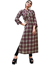 Rose Petals Fully Stitched Indo Western Reyon Check Kurti in Different Designer Cuts and Style with unique neck detailing (CHEp5006), check dress for women western, checks kurtis for women latest