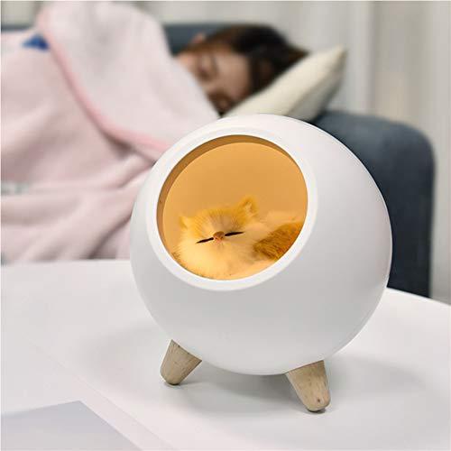 MAGICE LED nachtlichter für Babys Süße Kätzchen Schlummerleuchten für Kinder, Baby Kinderzimmer Lampe zum Stillen, Augenpflege, Einstellbare Helligkeit, Touch Control für Babyzimmer,White (Kätzchen Wecker)
