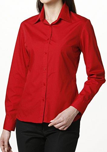 Popeline Uniform (LEONIS Pflegeleichte Damen Langarm-Popeline-Bluse Rot (Größe 42) [ 22555 ])