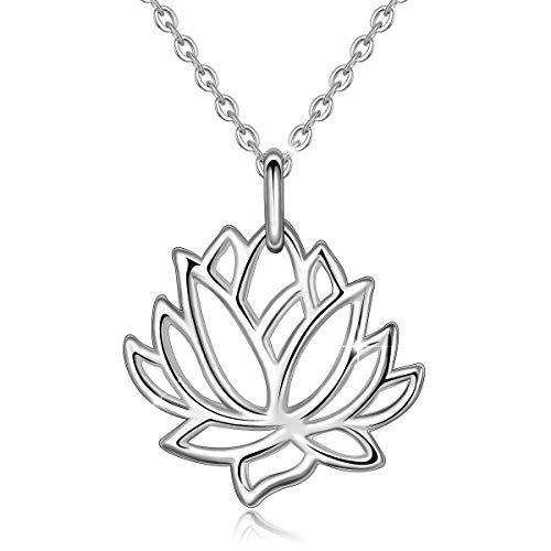 EUDORA Lotus Halskette S925 Sterling Silber Schmuck Heilige Lotus Halsketten für Frauen Damen, Geschenk für Frauen Kette 45,7cm