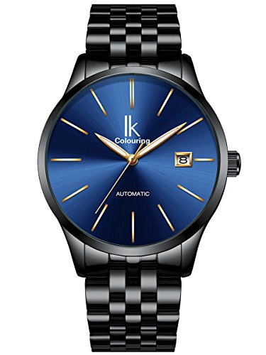 Alienwork Automatik Armbanduhr Herren Damen Uhr Edelstahl Armband Metallarmband Metallband schwarz Automatikuhr Herrenuhr Damenuhr Kalender blau