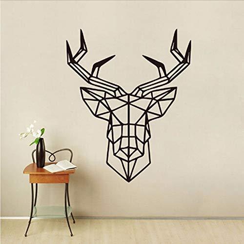 Kuletieas Cerf Design Géométrique Tête De Cerf Géométrie Animale Série Stickers 3D Vinyle Mur Art Custom Home Decor Wall Sticker 58 * 71 Cm