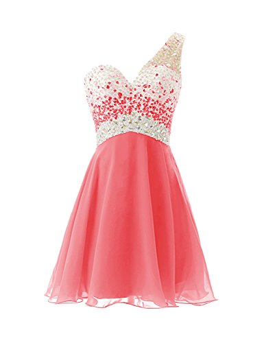 Dresstells, A-ligne / princesse une épaule robe courte de cocktail pailletée Corail
