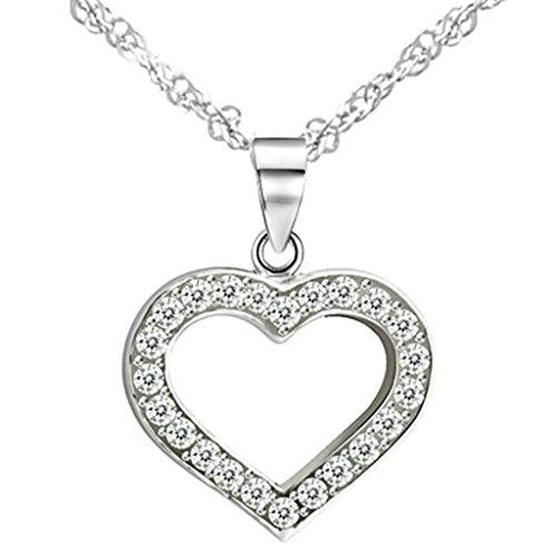 BeyDoDo Modeschmuck Damen Halskette mit Anhänger Sterling Silber Herz Zirkonia Weiß Kette