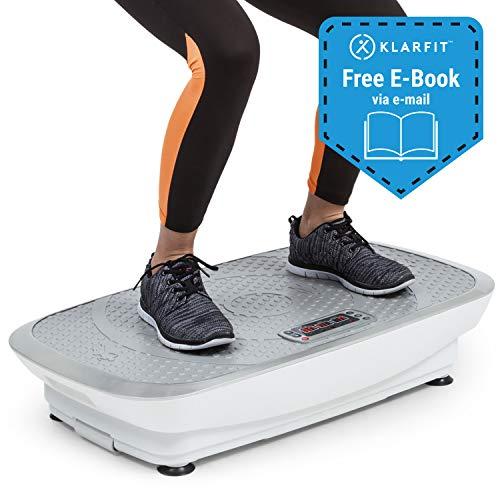 Klarfit Vibe 3DX Vibrationsplatte - Trainingsgerät, Fitnessgerät, 2 x 250 W, 3 Modi, 3DX DualMotor, Trainingscomputer, einstellbar, max. 120 kg, inkl. Fernbedienung und Fitnessband, weiß