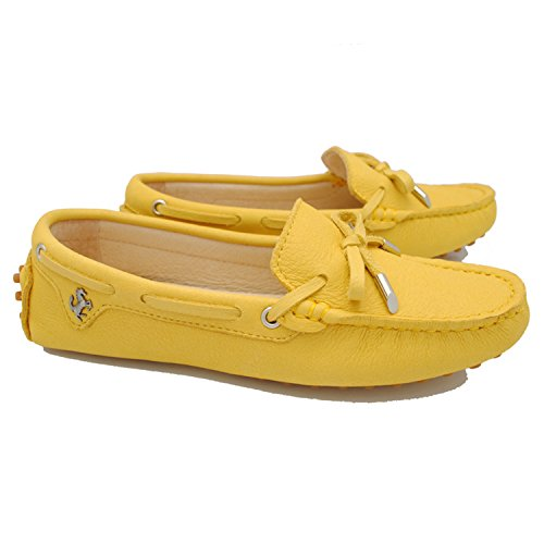 Minitoo tyb960–10da donna in pelle nubuck Slip-on scarpe casual barca Ballet Flats Loafer Moccasins Yellow