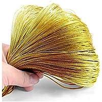 Yhcean Artículos de Uso doméstico Approx100M Cadena de Hilo metálico Creativo Seda de Oro/Hecho a Mano Cadena de la Etiqueta del Caramelo de Bricolaje (Dorado) para casa