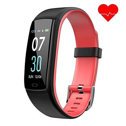 Dwfit Fitness Armband mit Pulsmesser,Wasserdicht Blutdruckmesser Fitness Tracker Aktivitätstracker Pulsuhren Schrittzähler,Uhr Smartwatch mit Schlafmonitor für iOS Android Handy(Rot)