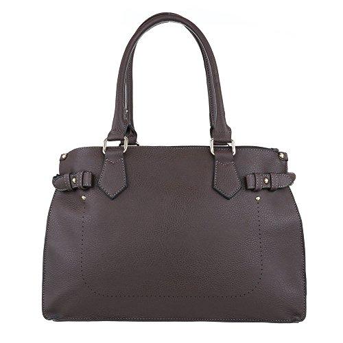 iTal-dEsiGn Damentasche Mittelgroße Schultertasche Handtasche Kunstleder TA-A20 Dunkelbraun