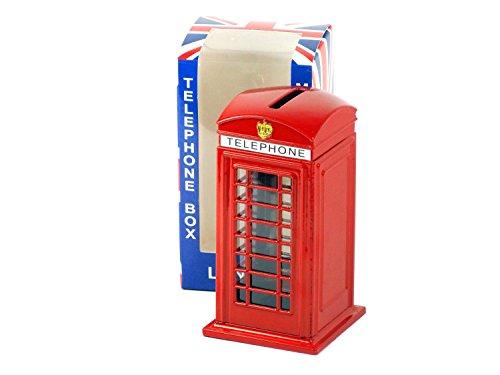 Produktbild Große rote London-Telefon-Telefon-Kasten Sammlerstück, 14cm groß, aus Diecast Metall hergestellt, mit einem Union Jack auf der Sparbüchse / Sparschwein! Souvenir
