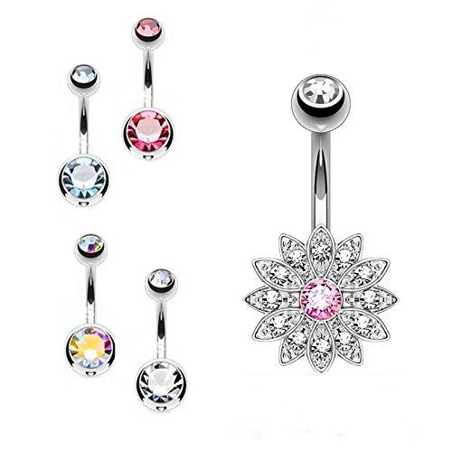Sl-silverset da 5 piercing per ombelico, sfera di cristallo 5 e 8 mm, e fiore di cristallo e acciaio inossidabile, colore: pink, cod. sl-belly15