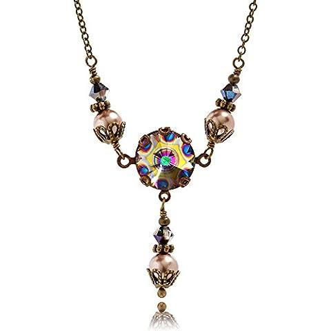 Pavo Real Crystal de Swarovski colgante de Rivoli de piedra redondo colgante