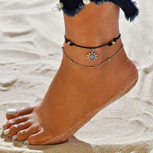 ToDIDAF Multilayer Fußkettchen/Armband für Frauen Mädchen, Fußschmuck, Metall Fußkette, Geeignet für Strand Strand Sommerferien Reisen Geburtstag Jahrestag Abschluss Weihnachten Valentinstag