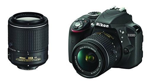 Nikon D3300 Fotocamera Reflex Digitale con Kit 18-55 VR AF-P e 55-200 VR II, 24,2 Megapixel, LCD 3', SD da 8 GB 300x Premium Lexar, Nero [Nital Card: 4 Anni di Garanzia]