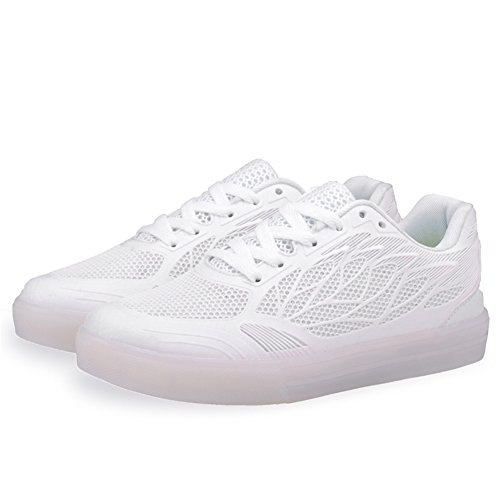 SGoodshoes Adulte Enfants 7 couleurs USB Rechargeable LED Chaussures clignotantes Sport Sneakers Chaussures Blanc