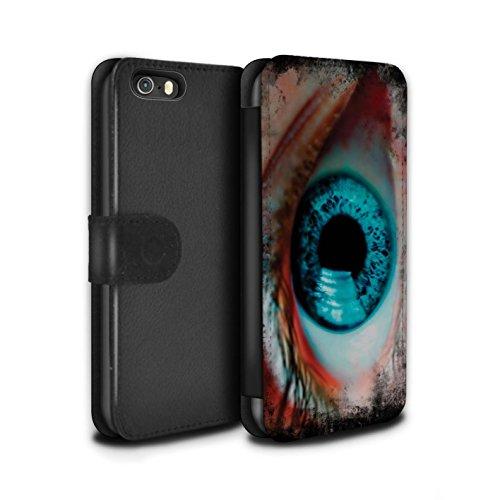 Stuff4 Coque/Etui/Housse Cuir PU Case/Cover pour Apple iPhone 5/5S / Jaune Design / Yeux/Iris Collection Bleu