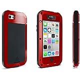 Alienwork Schutzhülle für iPhone SE/5/5S/5C Stoßfest Hülle Case Bumper spritzwasserfest Staubdicht Schneedicht Metall rot AP5C02-04