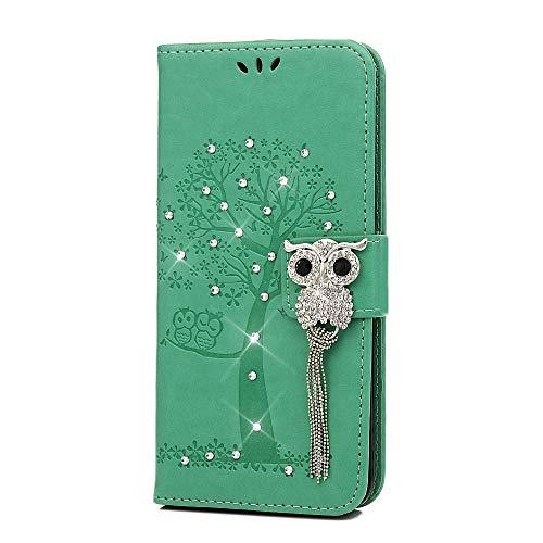 Hülle für Huawei Mate 20 Pro, Geprägte Schnalle vorne Leder Handyhülle Klappbares Brieftasche Schutzhülle Wallet Case Cover mit Integrierten Kartensteckplätzen Minzgrün -