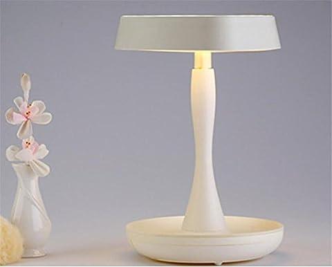 Noël en forme de coeur princesse miroir de maquillage lampe de table LED allumé portable écran tactile sans fil luminosité réglable port USB lampe de nuit (rose, vert, blanc) , white