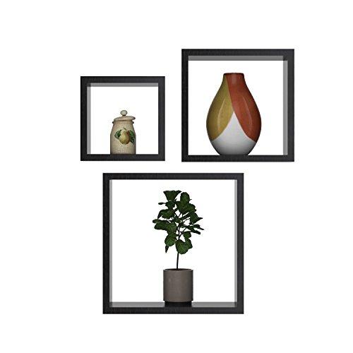Qulista 3 mensole a cubo da parete set di mensola in mdf libreria cd da muro scaffale 3 pezzi stile retró (marrone)