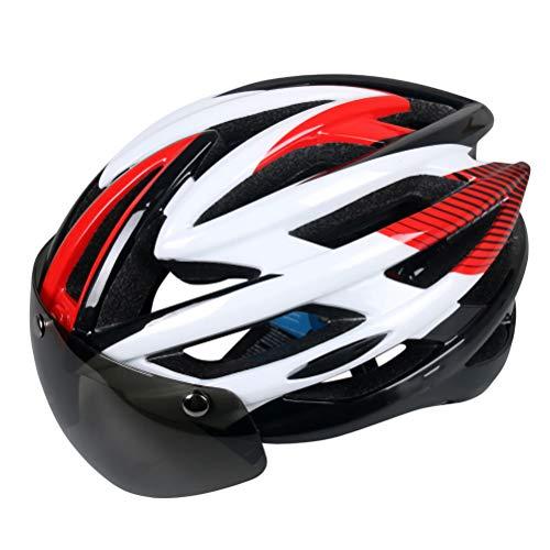 HELME Fahrradhelm, CE-Zertifiziert, Verstellbarer, haltbarer Erwachsenen abnehmbarem Visier, für Fahrrad BMX MTB,Red